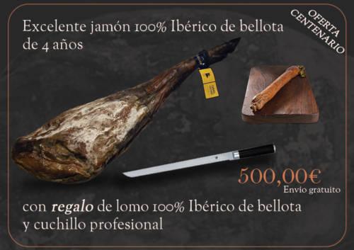 Jambon 100% Ibérique de bellota qualité superiore 4 ans avec en cadeau un lomo + couteau professionnel